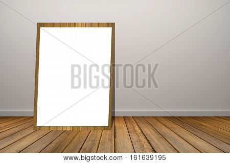 White Poster And Wooden Frame Of Picture In Empty Room.space For Your Text And Picture.product Displ