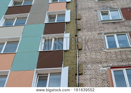 Thermal insulation brick wall of an apartment house