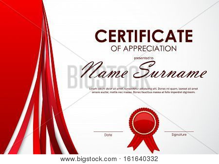 Certificate of appreciation template with paper light red dynamic background and label. Vector illustration