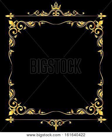 Golden vector ornate royal fleur de lys frame black background. Classic decoration illustration