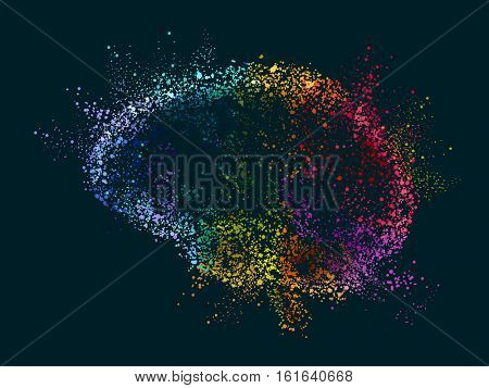 Pointilism Illustration Featuring Colorful Dust Forming the Shape of a Human Brain