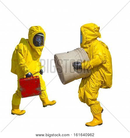 Isolated man in yellow protective hazmat suit