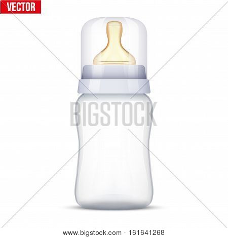 Baby bottle with nipple pacifier. Sterile milk container. Vector Illustration Isolated on white background.