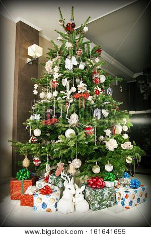 Beautifully Decorated Christmas Tree With Presents