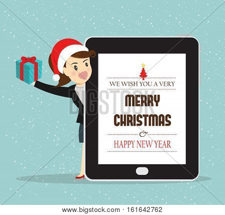 Leader business woman give gifts for Christmas & Happy new year and thank you with employees together with greeting sent to e-mail chat online on the phone.