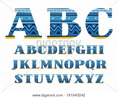 English alphabet, folk pattern, blue, vector font, capital letters. The letters of the English alphabet with serifs. Blue zigzags and stripes on a dark blue background. Ethnic pattern.