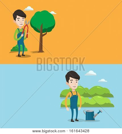Two agricultural banners with space for text. Vector flat design. Horizontal layout. Gardener holding pruner. Gardener is going to trim branch of tree using pruner. Gardener watering plants in garden.