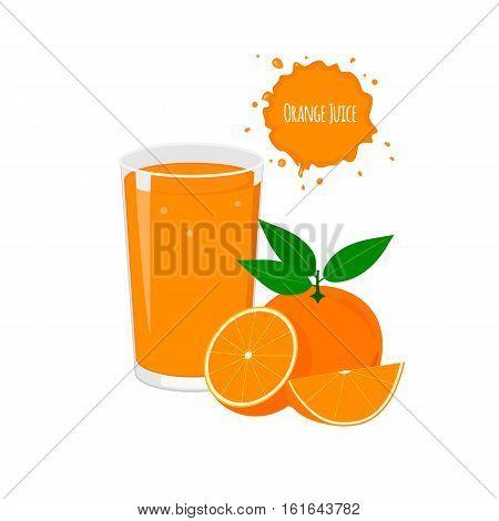 Vector orange juice with delicious oranges for package design and labels. Design elements. Orange juice.