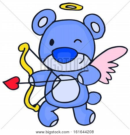 Cute cupid bear cartoon vector collection stock