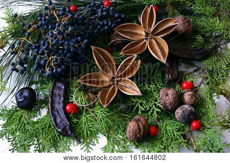 Christmas arrangement with walnuts and carob pods
