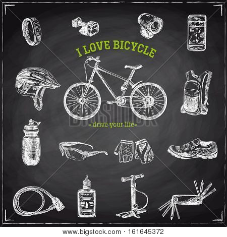 Vector hand drawn Illustration with bicycle and bicycle items. Sketch. Vintage style. Retro background. Chalkboard
