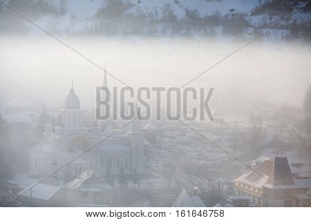 Color image of the wooden church in Barsana Maramures region Romania.