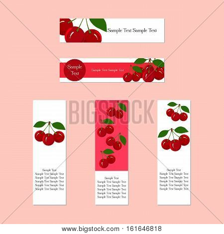 Design banners with juicy cherry fruit for companies