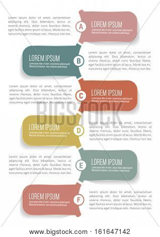Clean vector infographic background with six abcdef steps in tabs