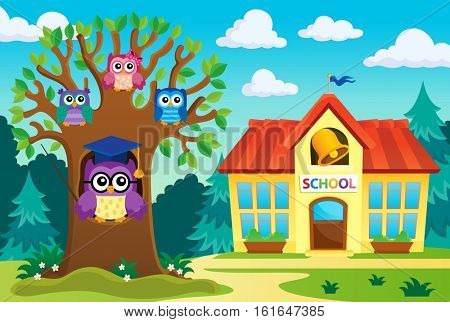 Tree with stylized school owl theme 6 - eps10 vector illustration.