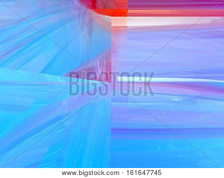 Abstract 3d geometric background in blue and red colors computer rendering