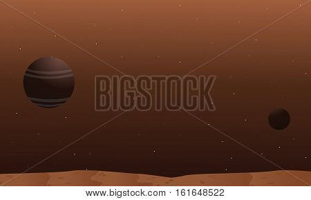Space alien landscape collection stock vector illustration