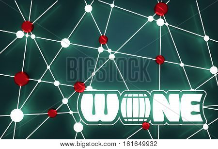 Suitable for poster, promotional leaflet, invitation, banner or magazine cover. Molecule And Communication Background. 3D rendering. Connected lines with dots. Wine text