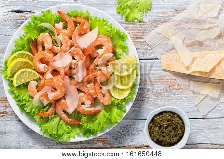 Fresh Salad Of Shrimps, Green Lettuce And Slice Of Lemon