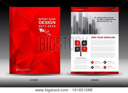 Annual report brochure flyer template, red cover design, business brochure flyer, printing layout, polygon background