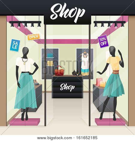 Women fashion clothes and beauty accessories shop sale display windows street view realistic image vector illustration