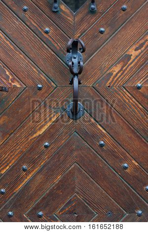 Ancient wooden door pattern with door handle