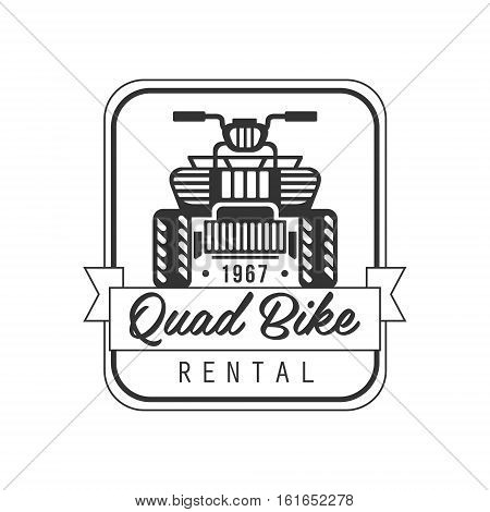 Quad Bike For Rent Label Design Black And White Template With Text For Quadricycle Rental Business. Monochrome Logo With Off Road Bike Silhouette Vector Illustration.