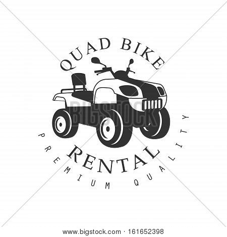 Renting Premium Quality Quad Bike Label Design Black And White Template With Text For Quadricycle Rental Business. Monochrome Logo With Off Road Bike Silhouette Vector Illustration.
