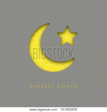 Ramadan kareem - vector greeting card with hanging moon and stars. Ilustration made of realictic paper with shadow. Gray and yellow colors.
