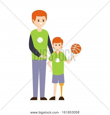Physically Handicapped Person Living Full Happy Life With Disability Illustration With Smiling Boy On Prosthetic Leg And His Dad. Disabled Cartoon Character With Physical Impairment Vector Drawing.