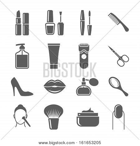Beauty and makeup vector icons set with perfume and cosmetics