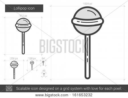 Lollipop vector line icon isolated on white background. Lollipop line icon for infographic, website or app. Scalable icon designed on a grid system.