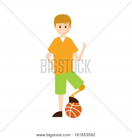 Physically Handicapped Person Living Full Happy Life With Disability Illustration With Smiling Guy With Artificial Leg Playing Football. Disabled Cartoon Character With Physical Impairment Vector Drawing.