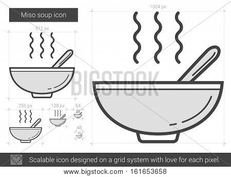 Miso soup vector line icon isolated on white background. Miso soup line icon for infographic, website or app. Scalable icon designed on a grid system.