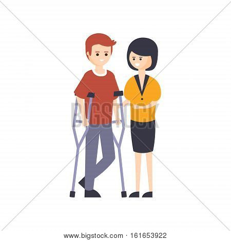 Physically Handicapped Person Living Full Happy Life With Disability Illustration With Smiling Man On Crouches And His Wife. Disabled Cartoon Character With Physical Impairment Vector Drawing.