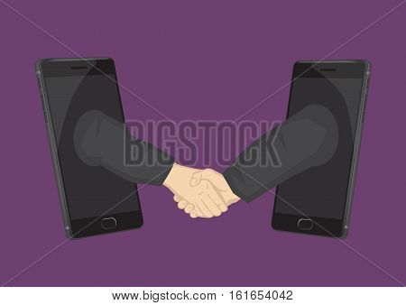 Two arms extended from mobile phones for a business handshake. Creative cartoon illustration on using technology for business concept isolated on plain background.