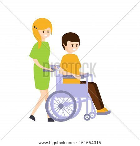 Physically Handicapped Person Living Full Happy Life With Disability Illustration With Smiling Girl Rolling A Guy In Wheelchair. Disabled Cartoon Character With Physical Impairment Vector Drawing.