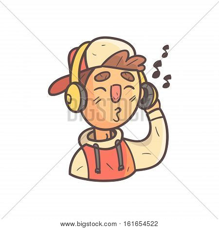 Listening To Music Boy In Cap And College Jacket Hand Drawn Emoji Cool Outlined Portrait. Part Of Funky Flat Vector Sticker Series With Teenager Different Emotional Facial Expressions In Comics Style.