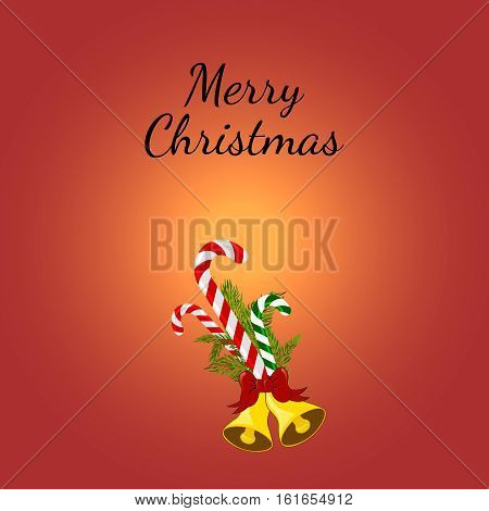 Christmas Greeting Card with candy canes. Vector illustration. Lollipop with Christmas tree branches and jingle bells.