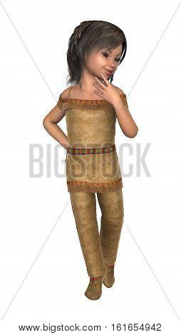 3D Rendering Native American Girl On White