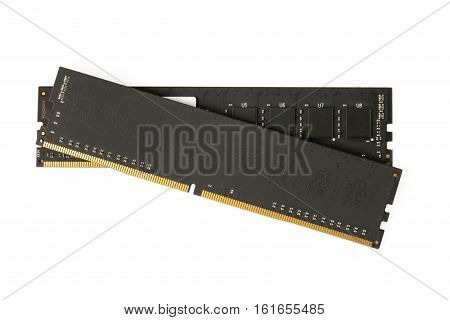 Black computer memory modules on the white background
