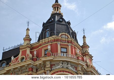 The upper floor and the tower on the roof of the renovated houses. Kyiv.