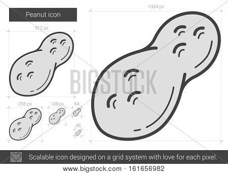Peanut vector line icon isolated on white background. Peanut line icon for infographic, website or app. Scalable icon designed on a grid system.