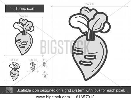 Turnip vector line icon isolated on white background. Turnip line icon for infographic, website or app. Scalable icon designed on a grid system.