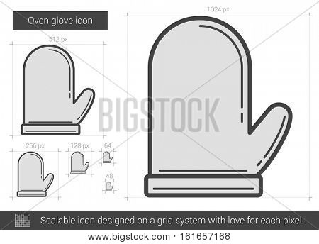 Oven glove vector line icon isolated on white background. Oven glove line icon for infographic, website or app. Scalable icon designed on a grid system.