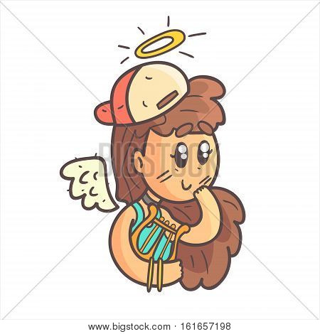 Angel Girl In Cap, Choker And Blue Top Hand Drawn Emoji Cool Outlined Portrait. Part Of Funky Flat Vector Sticker Series With Teenager Different Emotional Facial Expressions In Comics Style.