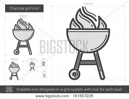 Charcoal grill vector line icon isolated on white background. Charcoal grill line icon for infographic, website or app. Scalable icon designed on a grid system.