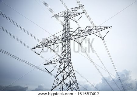 Transmission energy tower steel with cable line