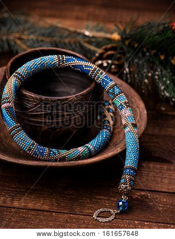 Beadwork. Beaded necklace. Winter. Christmas. Handmade Jewelry. Blue.