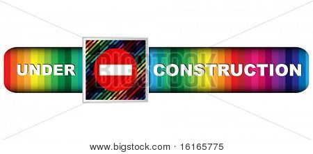 (raster image of vector) under construction banner